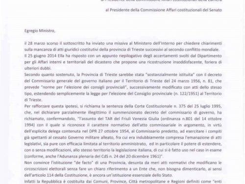 Provincia di Trieste esiste? Interpello al Ministero dell'Interno.